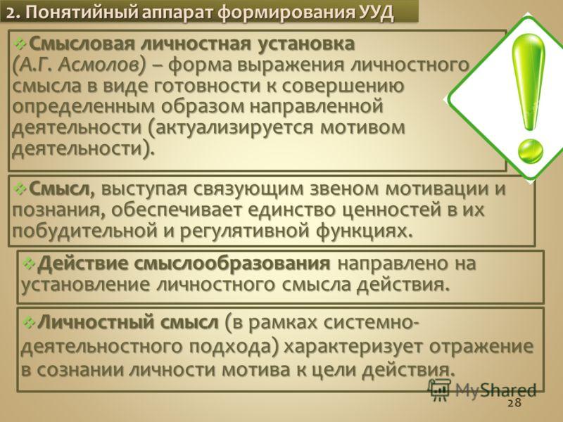 Смысловая личностная установка Смысловая личностная установка (А.Г. Асмолов) – форма выражения личностного смысла в виде готовности к совершению определенным образом направленной деятельности (актуализируется мотивом деятельности). 28 2. Понятийный а