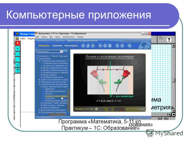 Компьютерные приложения Программа «Геометрические преобразования» Программа «Живая геометрия» Программа «Математика, 5-11 кл. Практикум – 1С: Образование»