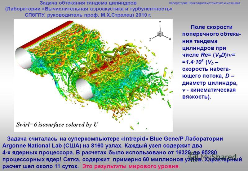 Лаборатория Прикладная математика и механика Поле скорости поперечного обтека- ния тандема цилиндров при числе Re= (V 0 D)/ = =1.4·10 5 (V 0 – скорост