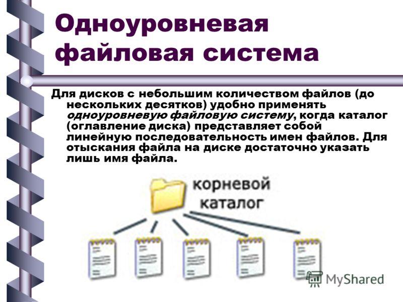 Одноуровневая файловая система Для дисков с небольшим количеством файлов (до нескольких десятков) удобно применять одноуровневую файловую систему, когда каталог (оглавление диска) представляет собой линейную последовательность имен файлов. Для отыска