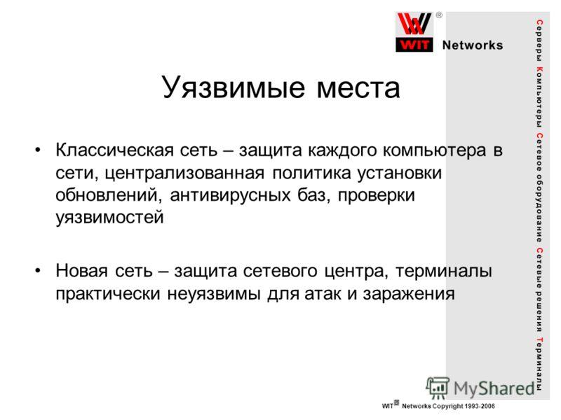 WIT Networks Copyright 1993-2006 Уязвимые места Классическая сеть – защита каждого компьютера в сети, централизованная политика установки обновлений, антивирусных баз, проверки уязвимостей Новая сеть – защита сетевого центра, терминалы практически не
