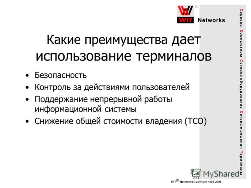 WIT Networks Copyright 1993-2006 Какие преимущества дает использование терминалов Безопасность Контроль за действиями пользователей Поддержание непрерывной работы информационной системы Снижение общей стоимости владения (TCO)