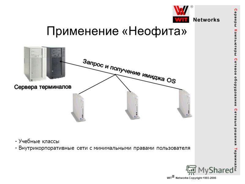 WIT Networks Copyright 1993-2006 Применение «Неофита» - Учебные классы - Внутрикорпоративные сети с минимальными правами пользователя