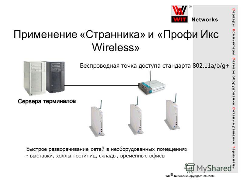 WIT Networks Copyright 1993-2006 Применение «Странника» и «Профи Икс Wireless» Беспроводная точка доступа стандарта 802.11a/b/g+ Быстрое разворачивание сетей в необорудованных помещениях - выставки, холлы гостиниц, склады, временные офисы