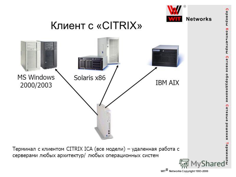 WIT Networks Copyright 1993-2006 Клиент с «CITRIX» Терминал с клиентом CITRIX ICA (все модели) – удаленная работа с серверами любых архитектур/ любых операционных систем MS Windows 2000/2003 Solaris x86 IBM AIX