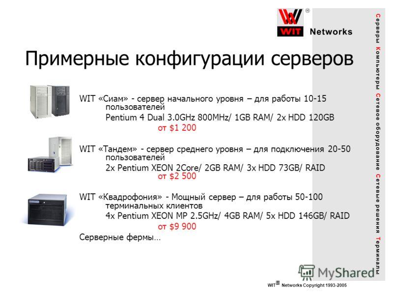 WIT Networks Copyright 1993-2005 Примерные конфигурации серверов WIT «Сиам» - сервер начального уровня – для работы 10-15 пользователей Pentium 4 Dual 3.0GHz 800MHz/ 1GB RAM/ 2x HDD 120GB от $1 200 WIT «Тандем» - сервер среднего уровня – для подключе