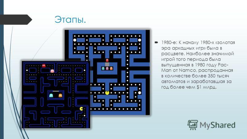 Этапы. 1980-е: К началу 1980-х «золотая эра аркадных игр» была в расцвете. Наиболее значимой игрой того периода была выпущенная в 1980 году Pac- Man от Namco, распроданная в количестве более 350 тысяч автоматов и заработавшая за год более чем $1 млрд