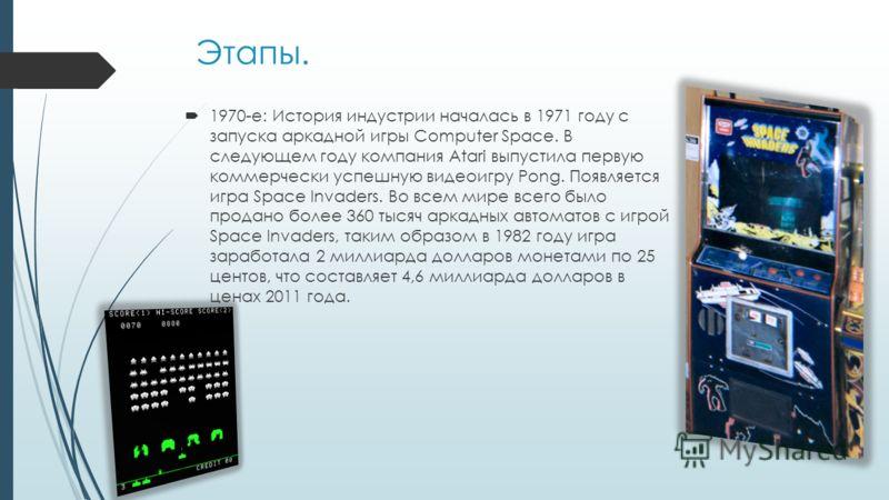Этапы. 1970-е: История индустрии началась в 1971 году с запуска аркадной игры Computer Space. В следующем году компания Atari выпустила первую коммерчески успешную видеоигру Pong. Появляется игра Space Invaders. Во всем мире всего было продано более