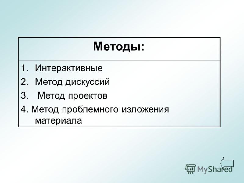 Методы: 1.Интерактивные 2.Метод дискуссий 3. Метод проектов 4. Метод проблемного изложения материала