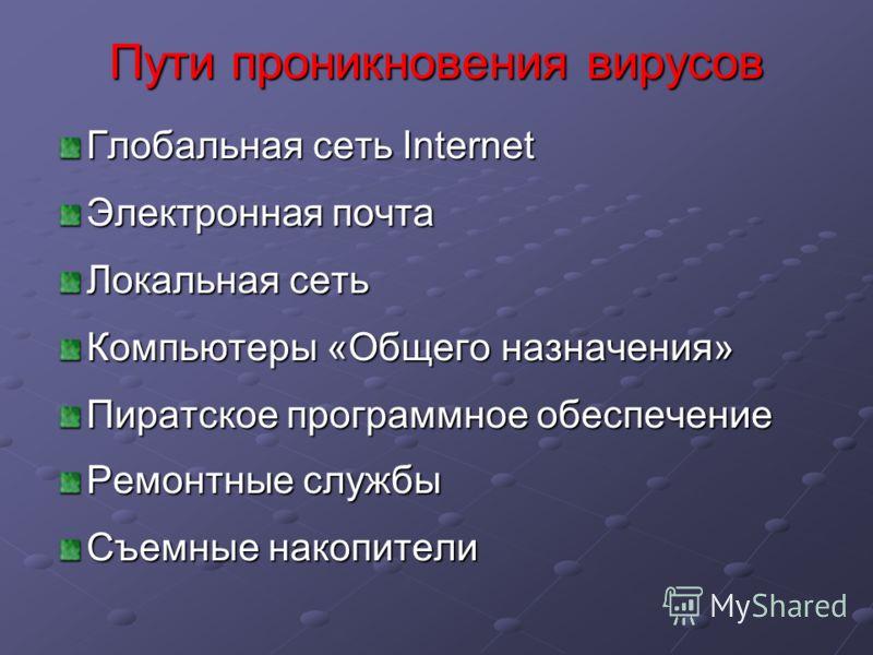 Глобальная сеть Internet Электронная почта Локальная сеть Компьютеры «Общего назначения» Пиратское программное обеспечение Ремонтные службы Съемные накопители Пути проникновения вирусов