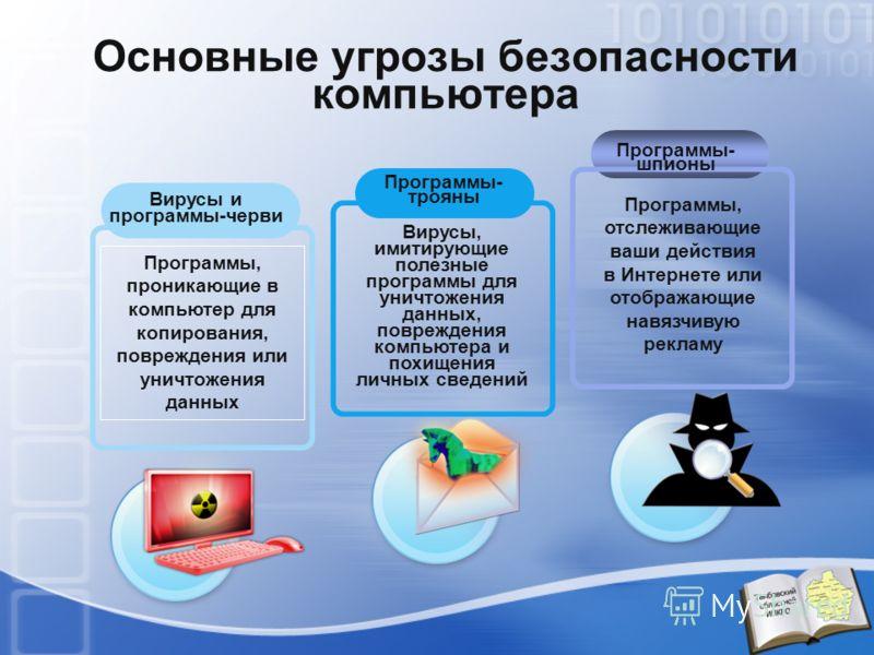 Программы- трояны Вирусы и программы-черви Программы, проникающие в компьютер для копирования, повреждения или уничтожения данных Вирусы, имитирующие полезные программы для уничтожения данных, повреждения компьютера и похищения личных сведений Програ