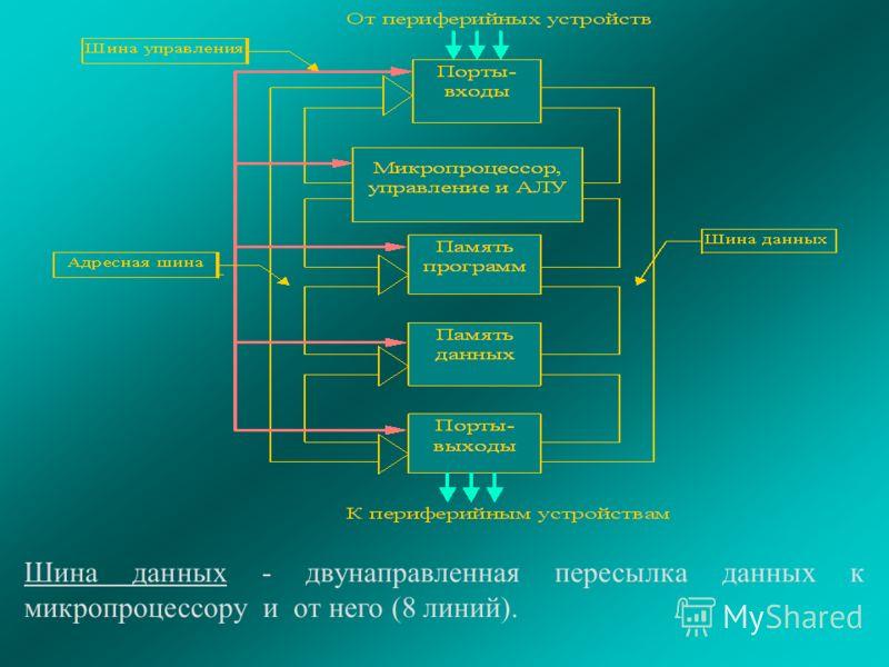 Шина данных - двунаправленная пересылка данных к микропроцессору и от него (8 линий).