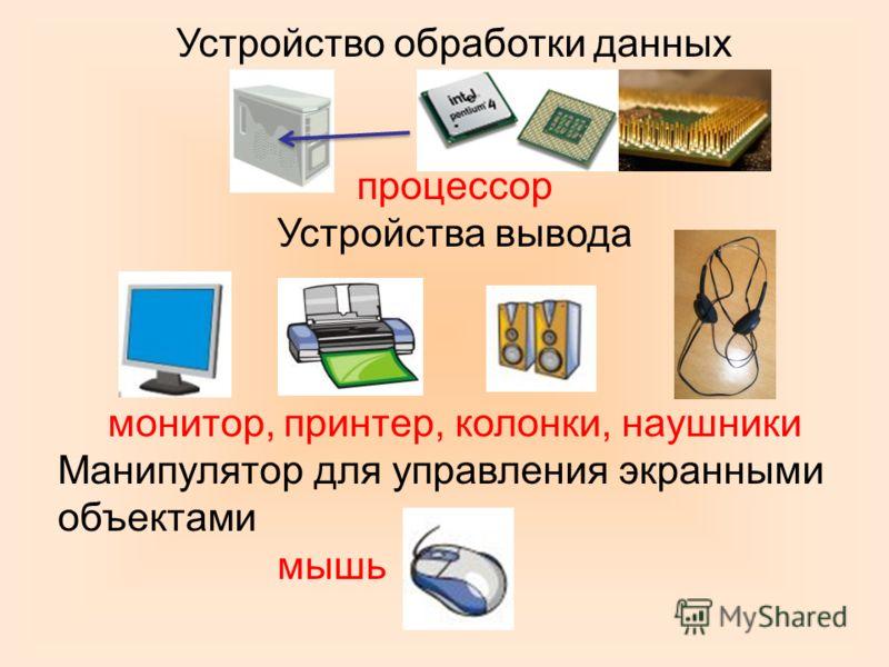Устройство обработки данных процессор Устройства вывода монитор, принтер, колонки, наушники Манипулятор для управления экранными объектами мышь