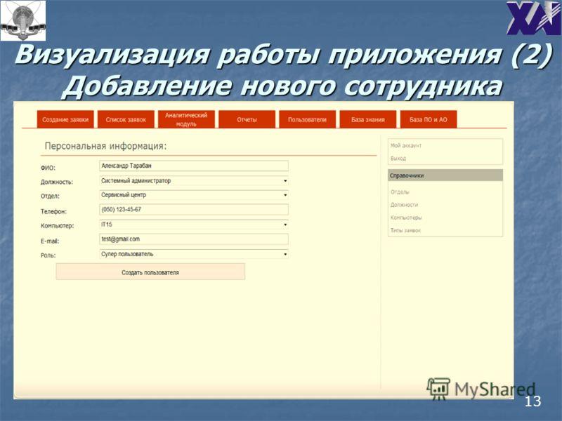 Визуализация работы приложения (2) Добавление нового сотрудника 13