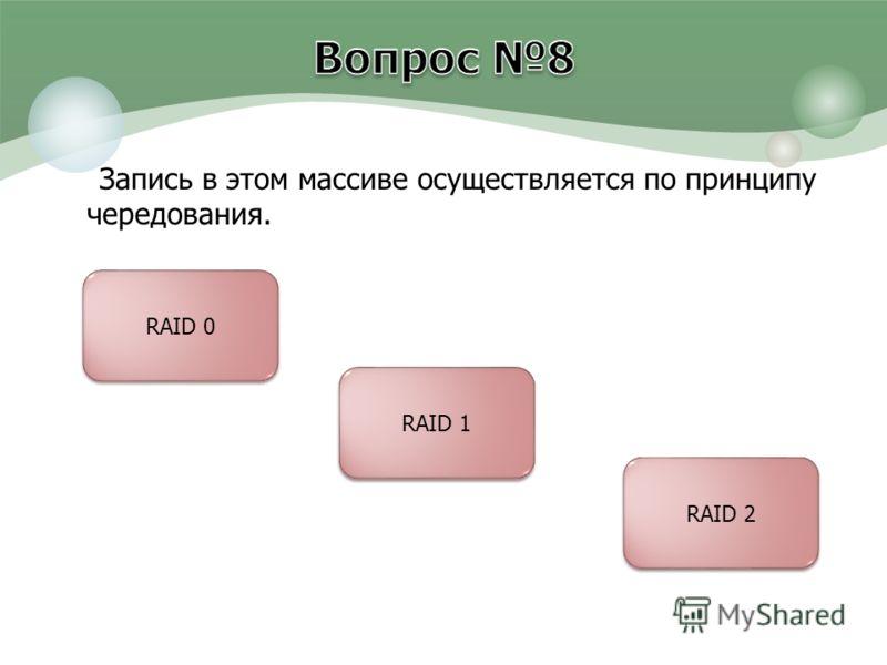 Запись в этом массиве осуществляется по принципу чередования. RAID 0 RAID 1 RAID 2