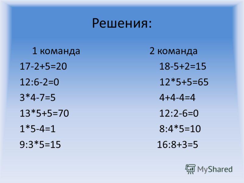 Решения: 1 команда 2 команда 17-2+5=20 18-5+2=15 12:6-2=0 12*5+5=65 3*4-7=5 4+4-4=4 13*5+5=70 12:2-6=0 1*5-4=1 8:4*5=10 9:3*5=15 16:8+3=5