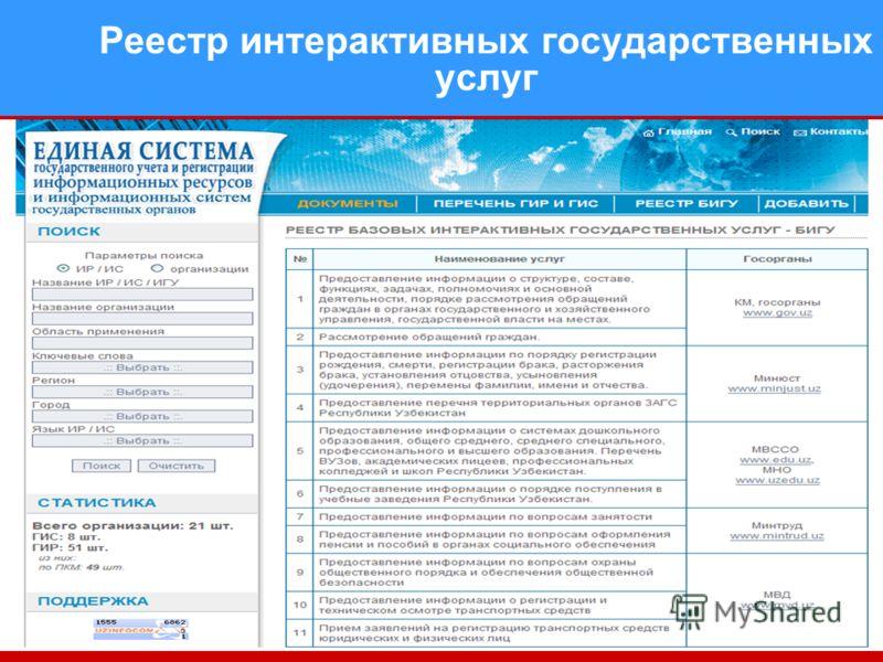 Реестр интерактивных государственных услуг