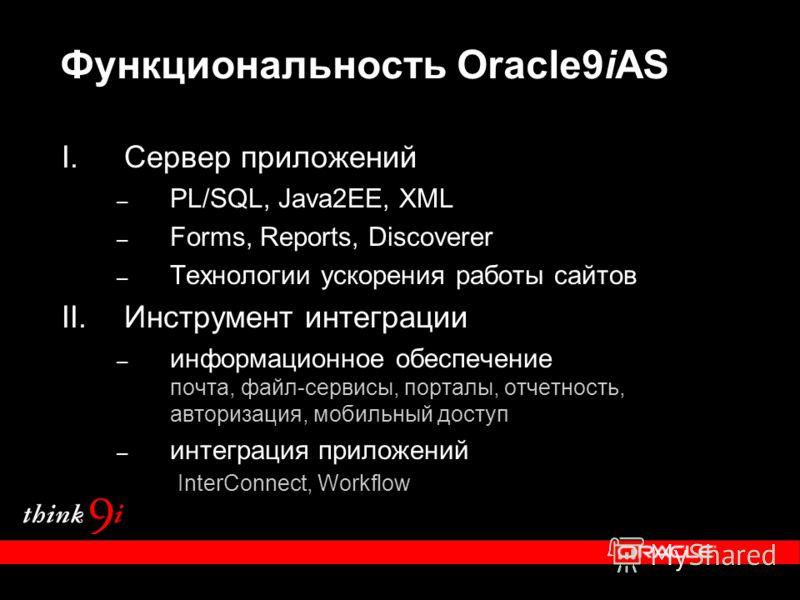 Функциональность Oracle9iAS I.Сервер приложений – PL/SQL, Java2EE, XML – Forms, Reports, Discoverer – Технологии ускорения работы сайтов II.Инструмент интеграции – информационное обеспечение почта, файл-сервисы, порталы, отчетность, авторизация, моби