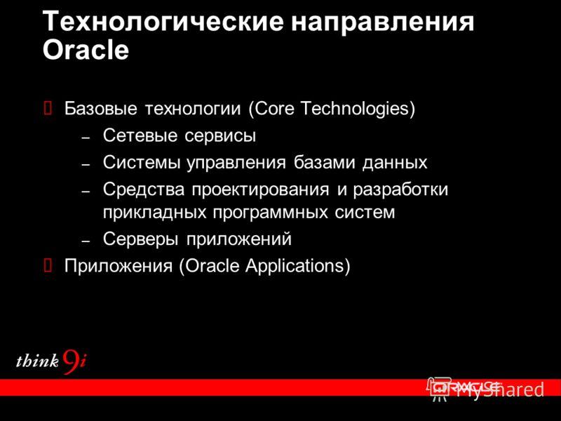 Технологические направления Oracle Базовые технологии (Core Technologies) – Сетевые сервисы – Системы управления базами данных – Средства проектирования и разработки прикладных программных систем – Серверы приложений Приложения (Oracle Applications)