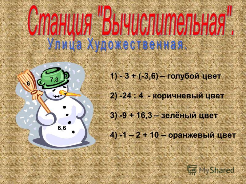1) - 3 + (-3,6) – голубой цвет 2) -24 : 4 - коричневый цвет 3) -9 + 16,3 – зелёный цвет 4) -1 – 2 + 10 – оранжевый цвет - 6 7 6,6 7,3