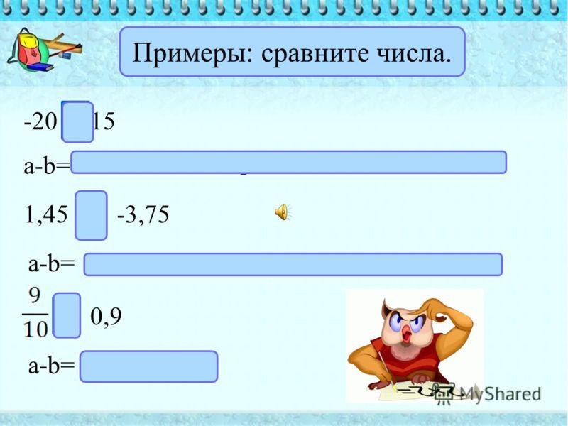 Число а больше числа b, если разность a-b – положительное число; число a меньше числа b, если разность a-b – отрицательное число, если a-b=0, то a=b.