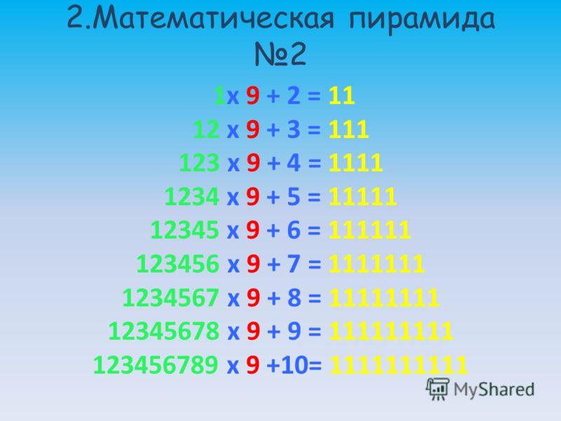 2.Математическая пирамида 2 1x 9 + 2 = 11 12 x 9 + 3 = 111 123 x 9 + 4 = 1111 1234 x 9 + 5 = 11111 12345 x 9 + 6 = 111111 123456 x 9 + 7 = 1111111 1234567 x 9 + 8 = 11111111 12345678 x 9 + 9 = 111111111 123456789 x 9 +10= 1111111111