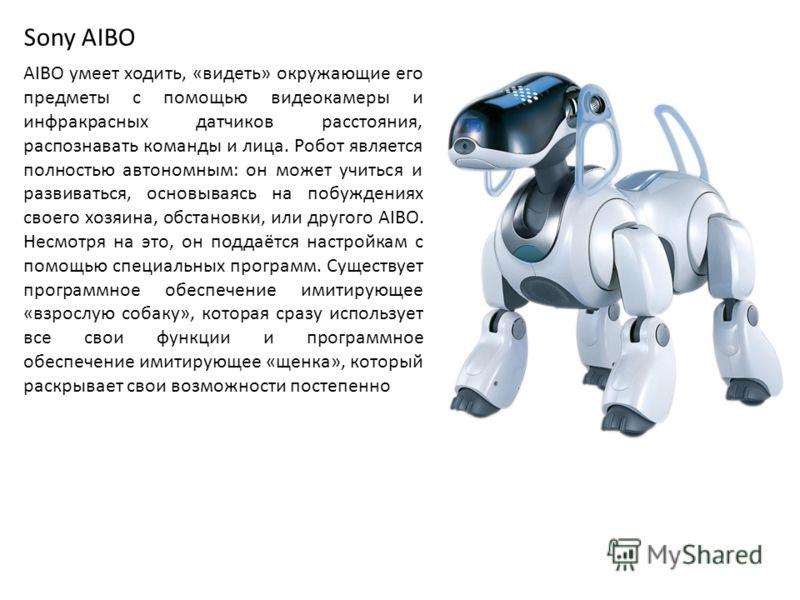 Sony AIBO AIBO умеет ходить, «видеть» окружающие его предметы с помощью видеокамеры и инфракрасных датчиков расстояния, распознавать команды и лица. Робот является полностью автономным: он может учиться и развиваться, основываясь на побуждениях своег
