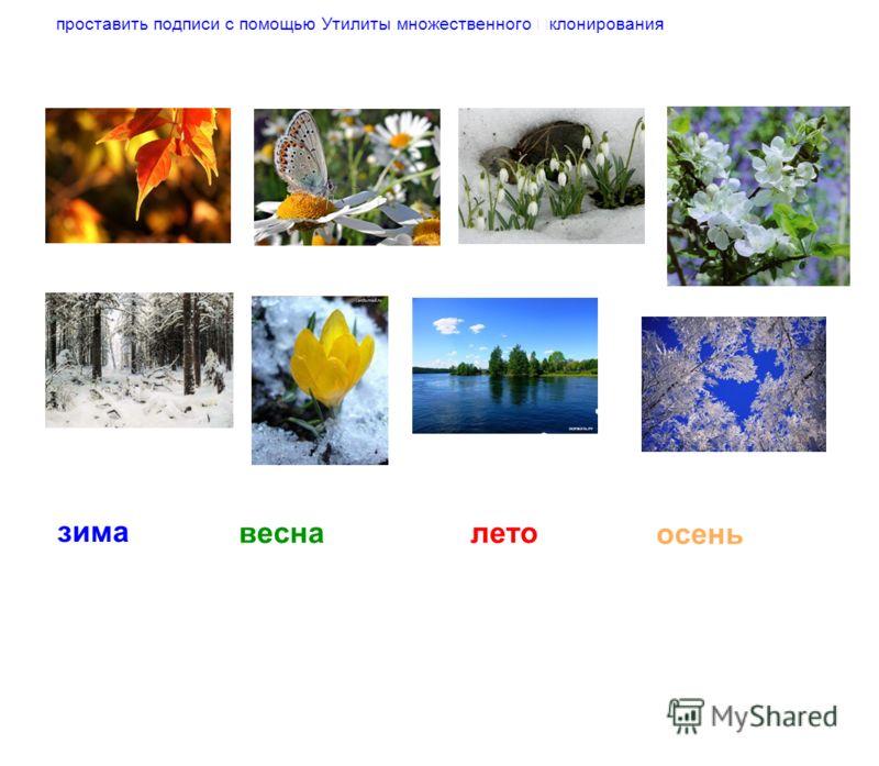 осень весна проставить подписи с помощью Утилиты множественного клонирования зима лето