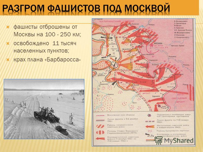 фашисты отброшены от Москвы на 100 - 250 км; освобождено 11 тысяч населенных пунктов; крах плана «Барбаросса »