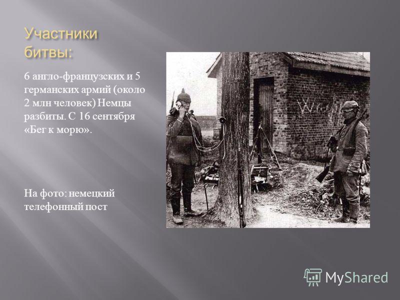 Участники битвы : 6 англо - французских и 5 германских армий ( около 2 млн человек ) Немцы разбиты. С 16 сентября « Бег к морю ». На фото : немецкий телефонный пост