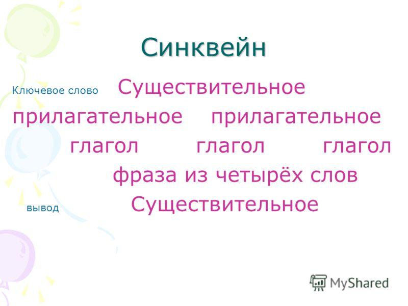 Синквейн Ключевое слово Существительное прилагательное глагол глагол глагол фраза из четырёх слов вывод Существительное