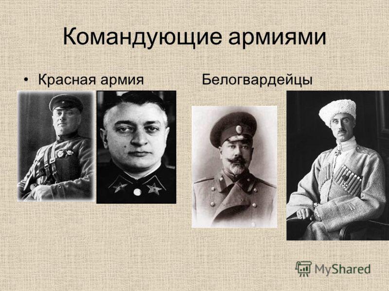 Командующие армиями Красная армияБелогвардейцы