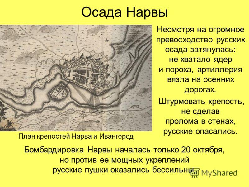 Осада Нарвы Несмотря на огромное превосходство русских осада затянулась: не хватало ядер и пороха, артиллерия вязла на осенних дорогах. Штурмовать крепость, не сделав пролома в стенах, русские опасались. План крепостей Нарва и Ивангород Бомбардировка