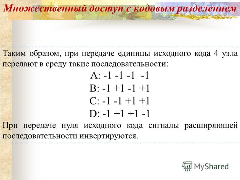 Таким образом, при передаче единицы исходного кода 4 узла перелают в среду такие последовательности: А: -1 -1 -1 -1 В: -1 +1 -1 +1 С: -1 -1 +1 +1 D: -1 +1 +1 -1 При передаче нуля исходного кода сигналы расширяющей последовательности инвертируются. Мн