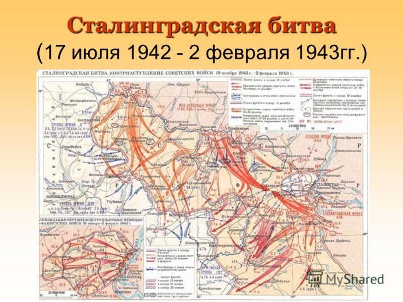 Сталинградская битва Сталинградская битва ( 17 июля 1942 - 2 февраля 1943гг.)