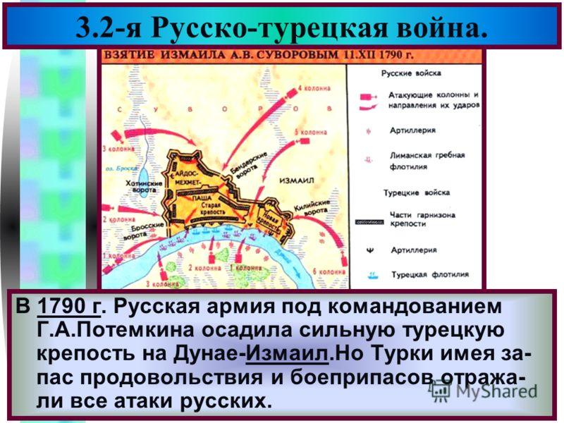 Меню 3.2-я Русско-турецкая война. В 1790 г. Русская армия под командованием Г.А.Потемкина осадила сильную турецкую крепость на Дунае-Измаил.Но Турки имея за- пас продовольствия и боеприпасов отража- ли все атаки русских.