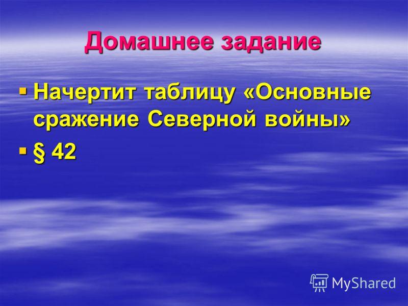 Домашнее задание Начертит таблицу «Основные сражение Северной войны» Начертит таблицу «Основные сражение Северной войны» § 42 § 42