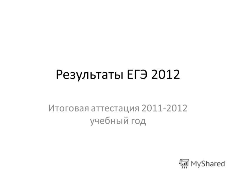 Результаты ЕГЭ 2012 Итоговая аттестация 2011-2012 учебный год