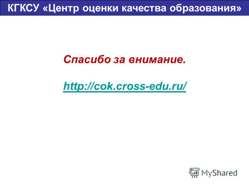 Спасибо за внимание. http://cok.cross-edu.ru/ КГКСУ «Центр оценки качества образования»