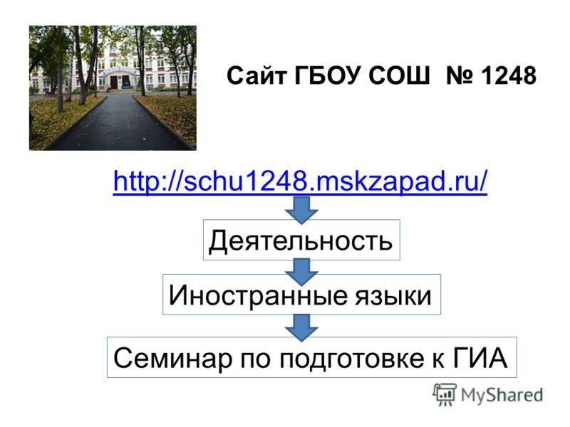 http://schu1248.mskzapad.ru/ Сайт ГБОУ СОШ 1248 Деятельность Иностранные языки Семинар по подготовке к ГИА