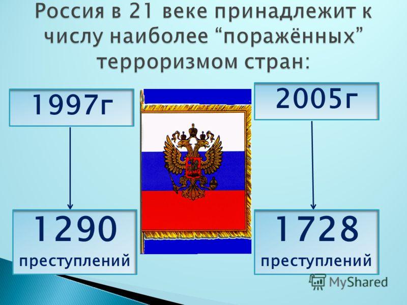 1997г 1290 преступлений 2005г 1728 преступлений