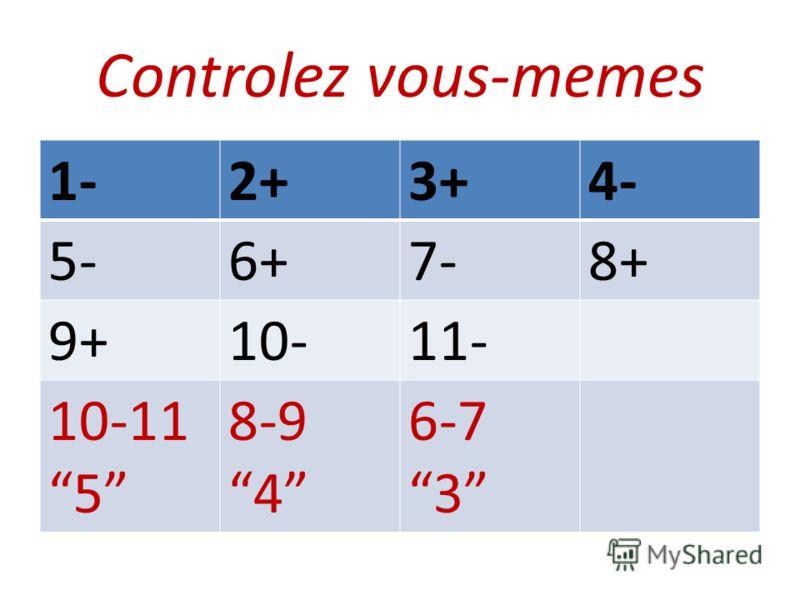 Controlez vous-memes 1-2+3+4- 5-6+7-8+ 9+10-11- 10-11 5 8-9 4 6-7 3