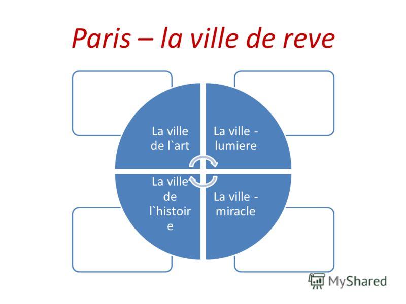 Paris – la ville de reve La ville de l`art La ville - lumiere La ville - miracle La ville de l`histoir e