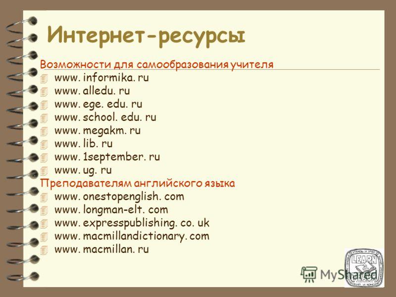 Интернет-ресурсы Возможности для самообразования учителя 4 www. informika. ru 4 www. alledu. ru 4 www. ege. edu. ru 4 www. school. edu. ru 4 www. megakm. ru 4 www. lib. ru 4 www. 1september. ru 4 www. ug. ru Преподавателям английского языка 4 www. on