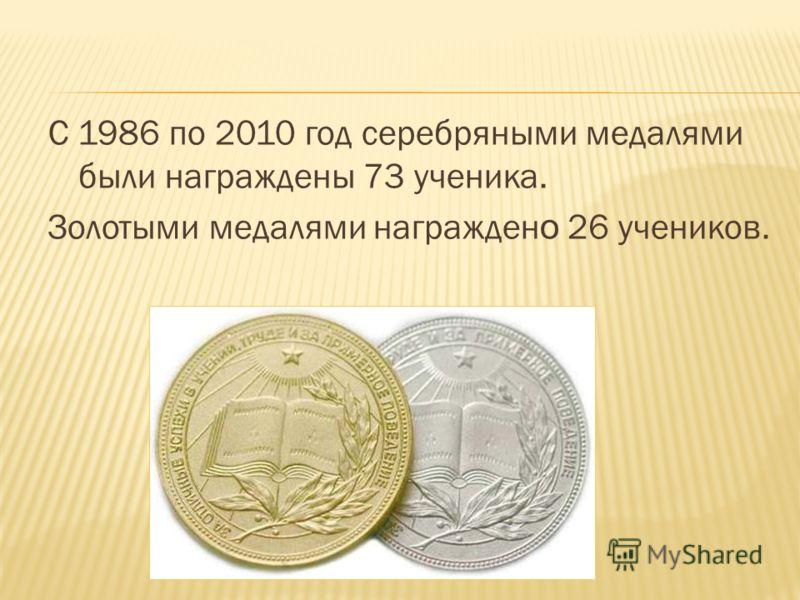 С 1986 по 2010 год серебряными медалями были награждены 73 ученика. Золотыми медалями награжден о 26 учеников.
