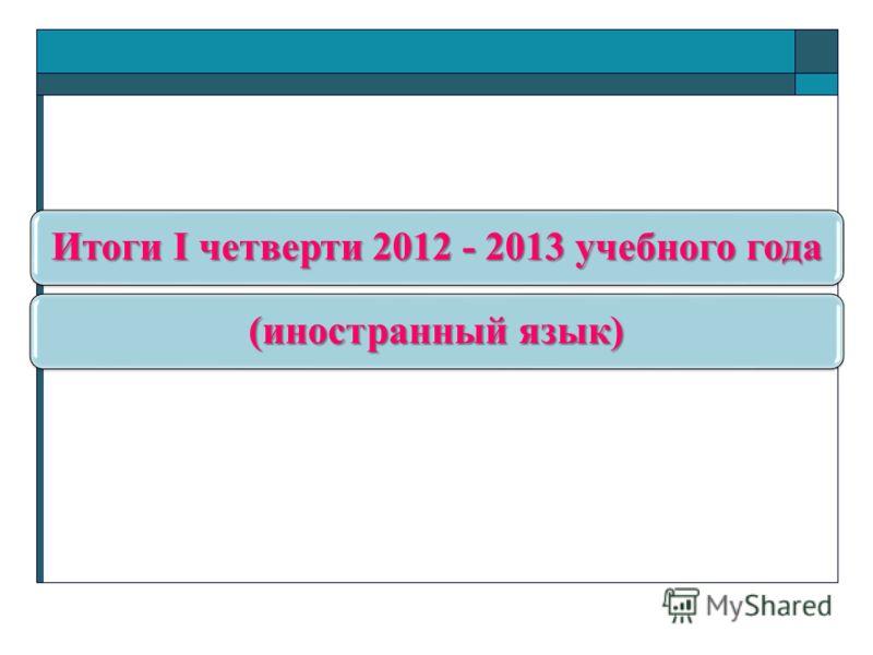 Итоги I четверти 2012 - 2013 учебного года (иностранный язык)