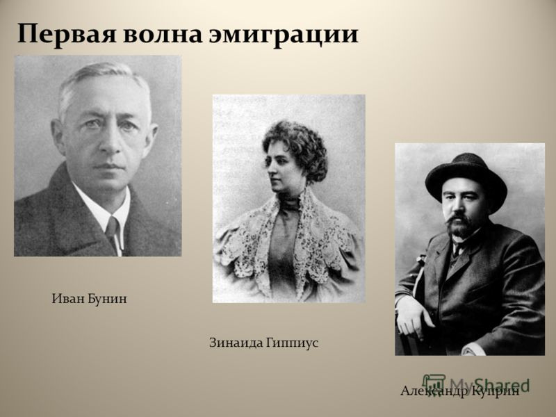 Первая волна эмиграции Иван Бунин Зинаида Гиппиус Александр Куприн