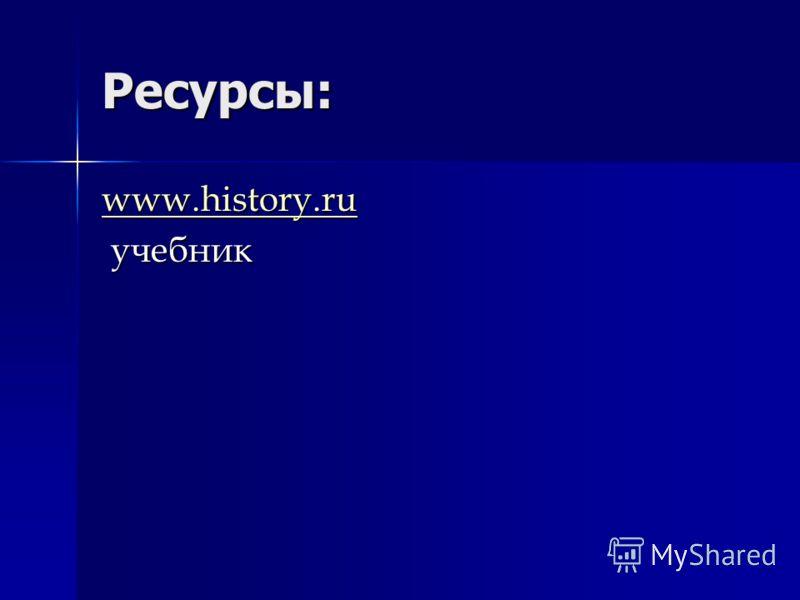 Ресурсы: www.history.ru учебник учебник