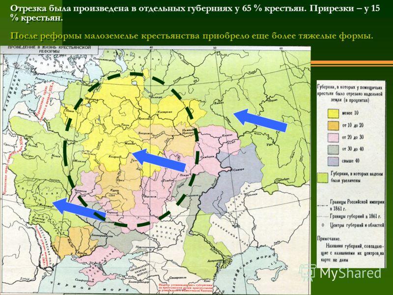 Отрезка была произведена в отдельных губерниях у 65 % крестьян. Прирезки – у 15 % крестьян. После реформы малоземелье крестьянства приобрело еще более тяжелые формы.