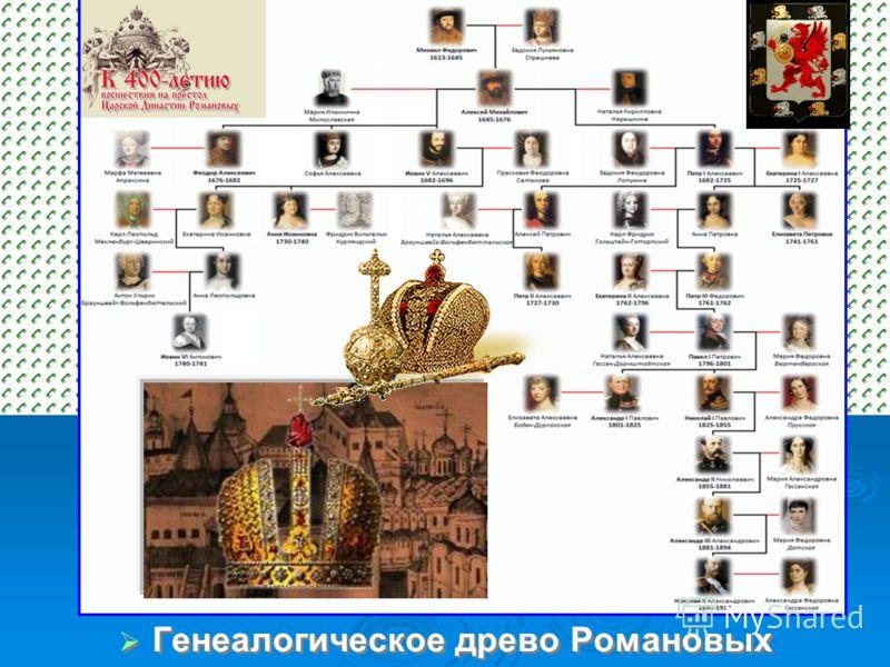генелогическое дерево династии романовых: